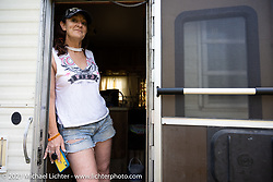 Robbin Cole in her camper at the Robbin Cole at the Tennessee Motorcycles and Music Revival at Loretta Lynn's Ranch. Hurricane Mills, TN, USA. Sunday, May 23, 2021. Photography ©2021 Michael Lichter.