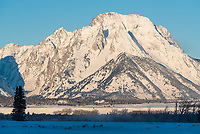 Mount Moran rises above the frosty Snake River Valley as seen from near Cunningham Cabin.