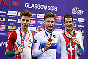 Podium, Men Individual Pursuit, Domenic Weinstein (Germany) Gold medal, Ivo Oliveira (Portugal) silver medal, Claudio Imhof Switzerland), Bronze medal, during the Track Cycling European Championships Glasgow 2018, at Sir Chris Hoy Velodrome, in Glasgow, Great Britain, Day 4, on August 5, 2018 - Photo Luca Bettini / BettiniPhoto / ProSportsImages / DPPI - Belgium out, Spain out, Italy out, Netherlands out -