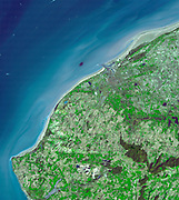 The Channel (English Channel) at the Straits of Dover. Satellite image. March 14, 2001