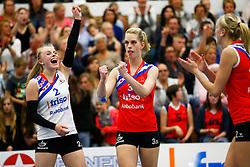 20150425 NED: Eredivisie VC Sneek - Eurosped, Sneek<br />Janieke Popma (2) of VC Sneek, Fenna Zeinstra (3) of VC Sneek<br />©2015-FotoHoogendoorn.nl / Pim Waslander