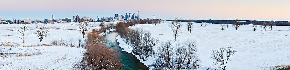 Trinity River in snow, Dallas, Texas, USA.