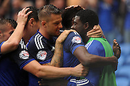 Cardiff City's Sammy Ameobi (2nd right) celebrates with his  team mates after scoring Cardiff's second goal. Skybet football league championship match, Cardiff city v Wolverhampton Wanderers at the Cardiff city stadium in Cardiff, South Wales on Saturday 22nd August 2015.<br /> pic by Carl Robertson, Andrew Orchard sports photography.