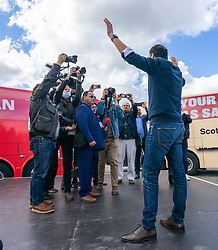 Glasgow, Scotland, UK. 5 May 2021. Scottish Labour Leader Anas Sarwar and former Prime Minister Gordon Brown appear at an eve of polls drive-in campaign rally in Glasgow today. Anas Sarwar  after his speech. .  Iain Masterton/Alamy Live News