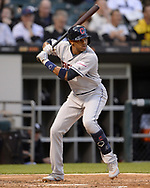 CHICAGO - MAY 30:  Greg Allen #1 of the Cleveland Indians bats against the Chicago White Sox on May 30, 2019 at Guaranteed Rate Field in Chicago, Illinois.  (Photo by Ron Vesely)  Subject:  Greg Allen