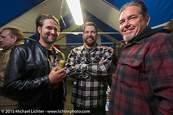 Grant Peterson, Warren Heir Jr and Big Scott Stopnik at the Mooneyes Yokohama Hot Rod & Custom Show after-party at Mooneyes headquarters. Yokohama, Japan. December 7, 2015.  Photography ©2015 Michael Lichter.