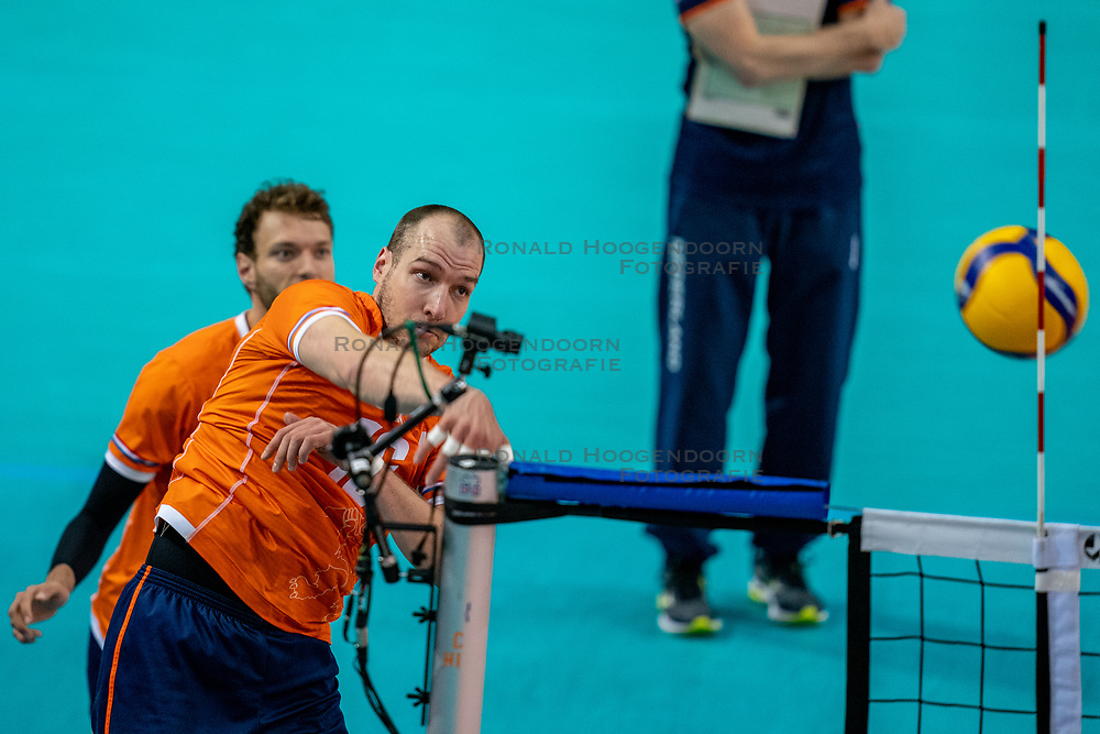 Wouter Ter Maat of Netherlands in action during the CEV Eurovolley 2021 Qualifiers between Croatia and Netherlands at Topsporthall Omnisport on May 16, 2021 in Apeldoorn, Netherlands