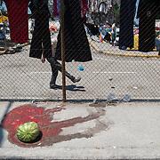 Kids playing football inside Kara Tepe camp.
