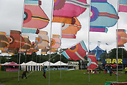 Giant banners going up ahead of the opening of the Glastonbury Festival 19th July 2016, Somerset, United Kingdom.  The Glastonbury Festival runs over 3 days and has 3000 acts, including music, art and performance and approx. 150.000 attend the anual event.