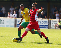August 28, 2017 - London, United Kingdom - Dan Waldren of Billericay Town holds of Joe Bruce of Thurrock FC.during Bostik League Premier Division match between Thurrock vs Billericay Town at  Ship Lane Ground, Aveley on 28 August 2017  (Credit Image: © Kieran Galvin/NurPhoto via ZUMA Press)