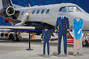 Headless cut-outs for visisors at the Embraer exhibit at the Farnborough Airshow, on 16th July 2018, in Farnborough, England.