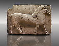 Picture of Phrygian releif sculpture Orthostat of a horse from Kucukevier, Ankara, Turkey. Museum of Anatolian Civilisations, Ankara. 7th century BC. Note the stylised leg muscels. 4 .<br /> <br /> If you prefer you can also buy from our ALAMY PHOTO LIBRARY  Collection visit : https://www.alamy.com/portfolio/paul-williams-funkystock/phrygian-antiquities.html  - Type into the LOWER SEARCH WITHIN GALLERY box to refine search by adding background colour, place, museum etc<br /> <br /> Visit our CLASSICAL WORLD PHOTO COLLECTIONS for more photos to download or buy as wall art prints https://funkystock.photoshelter.com/gallery-collection/Classical-Era-Historic-Sites-Archaeological-Sites-Pictures-Images/C0000g4bSGiDL9rw