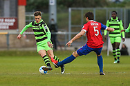Forest Green Rovers Charlie Cooper(20) is tackled by Dagenham's Craig Robson(5) during the Vanarama National League first leg play off match between Dagenham and Redbridge and Forest Green Rovers at the London Borough of Barking and Dagenham Stadium, London, England on 4 May 2017. Photo by Shane Healey.