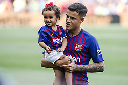 September 2, 2018 - Barcelona, Catalonia, Spain - Philippe Coutinho of FC Barcelona with his daughter during the La Liga game between FC Barcelona against Huesca in Camp Nou Stadium at Barcelona, on 02 of September of 2018, Spain. (Credit Image: © Xavier Bonilla/NurPhoto/ZUMA Press)