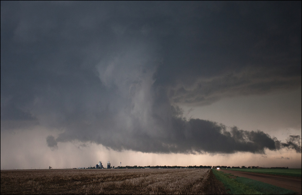 Lowering from a tornado warned supercell over Rozel, Kansas.