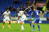 Cardiff City's Fabio De Silva (in air) beats Hull City's Mohamed Diame to a header. Skybet football league championship match, Cardiff city v Hull city at the Cardiff city stadium in Cardiff, South Wales on Tuesday 15th Sept 2015.<br /> pic by Carl Robertson, Andrew Orchard sports photography.