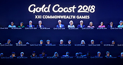 The Prince of Wales and the Duchess of Cornwall (top centre) alongside other dignitaries including Australia prime minister Malcolm Turnbull (top row centre right) during the Opening Ceremony for the 2018 Commonwealth Games at the Carrara Stadium in the Gold Coast, Australia.