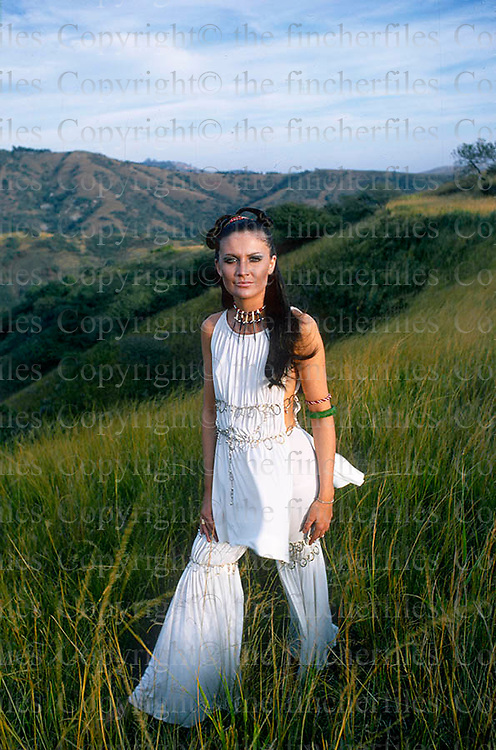 British singer Sandie Shaw photographed during a visit to Africa in 1970. Photo by Terry Fincher.