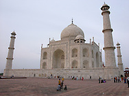 Evening stroll on the terrace of the Taj Mahal, Agra, wide ange view