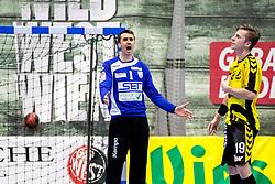27.04.2018, BSFZ Suedstadt, Maria Enzersdorf, AUT, HLA, SG INSIGNIS Handball WESTWIEN vs Bregenz Handball, Viertelfinale, 1. Runde, im Bild Sandro Uvodic (SG INSIGNIS Handball WESTWIEN), Nico Schnabl (Bregenz Handball) // during Handball League Austria, quarterfinal, 1 st round match between SG INSIGNIS Handball WESTWIEN and Bregenz Handball at the BSFZ Suedstadt, Maria Enzersdorf, Austria on 2018/04/27, EXPA Pictures © 2018, PhotoCredit: EXPA/ Sebastian Pucher