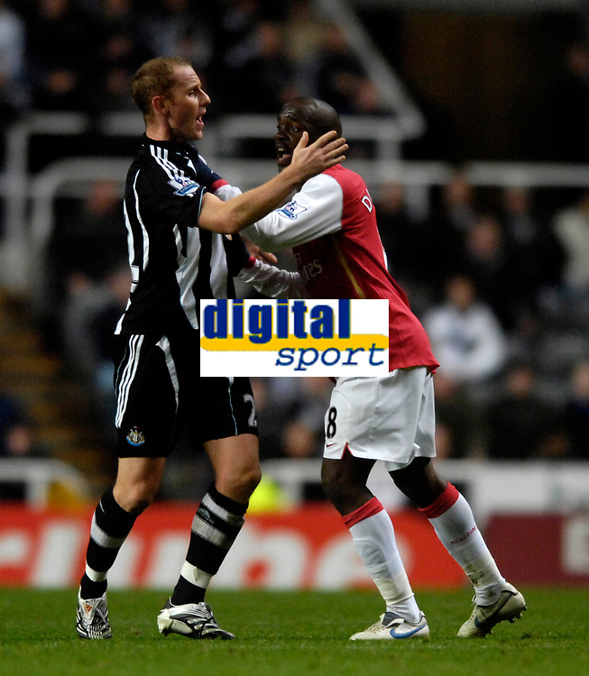 Photo: Jed Wee/Sportsbeat Images.<br /> Newcastle United v Arsenal. The FA Barclays Premiership. 05/12/2007.<br /> <br /> Newcastle's Nicky Butt (L) squares up to Arsenal's Lassana Diarra.