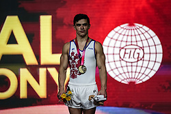November 2, 2018 - Doha, Qatar - Artur Dalaloyan of Russia  winning the gold medal at the Aspire Dome in Doha, Qatar, Artistic FIG Gymnastics World Championships on 2 of November 2018. (Credit Image: © Ulrik Pedersen/NurPhoto via ZUMA Press)
