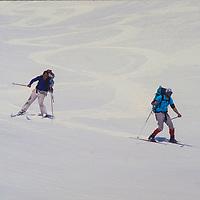 Ski Mountaneers descend Paiute Pass in the John Muir Wilderness, Sierra Nevada, California