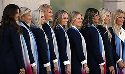 Team Europe wives and girlfriends pose for a photo before during the Ryder Cup Opening Ceremony at Le Golf National, Saint-Quentin-en-Yvelines, Paris.