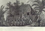James Cook (1728-79) English navigator, explorer, and hydrographer receiving ritual tribute from Sandwich Islanders, 1779, during his third Pacific voyage.  Engraving