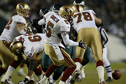 21 December 2003: The San Francisco 49ers defeated the Philadelphia Eagles 31-28 at Lincoln Financial Field in Philadelphia, PA.<br /><br />Mandatory Credit: Drew Hallowell