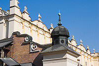 Architectural Detail of Sukiennice Renaissance Cloth Hall in the centre of Rynek Glowny Market Square Krakow Poland