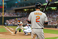 Baltimore Orioles J.J. Hardy #2 waits on-deck during a game against the Minnesota Twins at Target Field in Minneapolis, Minnesota on July 16, 2012.  The Twins defeated the Orioles 19 to 7 setting a Target Field record for runs scored by the Twins.  © 2012 Ben Krause