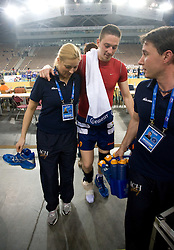 Medical doctor Eva Topole and Injured Dejan Vincic of ACH at 2nd Semifinal match of CEV Indesit Champions League FINAL FOUR tournament between ACH Volley, Bled, SLO and Trentino BetClic Volley, ITA, on May 1, 2010, at Arena Atlas, Lodz, Poland. Trentino defeated ACH 3-1. (Photo by Vid Ponikvar / Sportida)