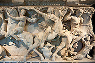 The Sidamara Sarcophagus, with 3rd Cent. AD Roman relief sculptures. Ambararasi (Konya) Turkey. Istanbul Archaeological Museum, Turkey, Inv. 1179 T , Cat. Mendel 112. .<br /> <br /> If you prefer to buy from our ALAMY STOCK LIBRARY page at https://www.alamy.com/portfolio/paul-williams-funkystock/greco-roman-sculptures.html- Type -    Istanbul    - into LOWER SEARCH WITHIN GALLERY box - Refine search by adding a subject, place, background colour, museum etc.<br /> <br /> Visit our CLASSICAL WORLD HISTORIC SITES PHOTO COLLECTIONS for more photos to download or buy as wall art prints https://funkystock.photoshelter.com/gallery-collection/The-Romans-Art-Artefacts-Antiquities-Historic-Sites-Pictures-Images/C0000r2uLJJo9_s0c