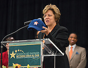 Houston Astros Senior Vice President for Community Relations Meg Vaillancourt comments during the Houston ISD Partnership Appreciation breakfast at Kingdom Builders, October 25, 2013.