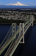 Mount Rainier looms majestically in this view of the Tacoma Narrows Bridge. (Ken Lambert / The Seattle Times)