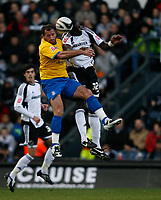 Photo: Steve Bond/Richard Lane Photography. Derby County v Crystal Palace. Coca Cola Championship. 06/12/2008. Shefki Kuqi (L) and Darren Powell (R) challange in the air
