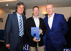Blue Poppy Vehicle Solutions Ltd wins 4th place in the 1883 Sponsors draw for sponsorship on the back of the shorts presented by Barry Bradshaw (Director of Bristol Rovers) and Mike Norton (Post Editor)  - Photo mandatory by-line: Dougie Allward/JMP - Mobile: 07966 386802 - 17/04/2015 - SPORT - Football - Bristol - Memorial Stadium