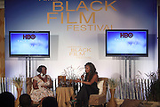 l to r: Bevy Smith and Vivica Fox at The HBO Talk Series with Vivica Fox during the The 2009 American Black Film Festival held at The Ritz-Carlton in Miami Beach on June 27, 2009 ..