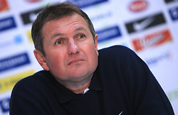 Head coach of Slovenia Matjaz Kek at press conference after  the 8th day qualification game of 2010 FIFA WORLD CUP SOUTH AFRICA in Group 3 between Slovenia and Czech Republic at Stadion Ljudski vrt, on March 28, 2008, in Maribor, Slovenia. Slovenia vs Czech Republic 0 : 0. (Photo by Vid Ponikvar / Sportida)