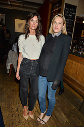 Left to right, HEDVIG OPSHAUG and POLLY MORGAN at a quiz night hosted by Zoe Jordan to celebrate the launch of her men's ZJKNITLAB collection held at The Larrick Pub, 32 Crawford Place, London on 20th April 2016.