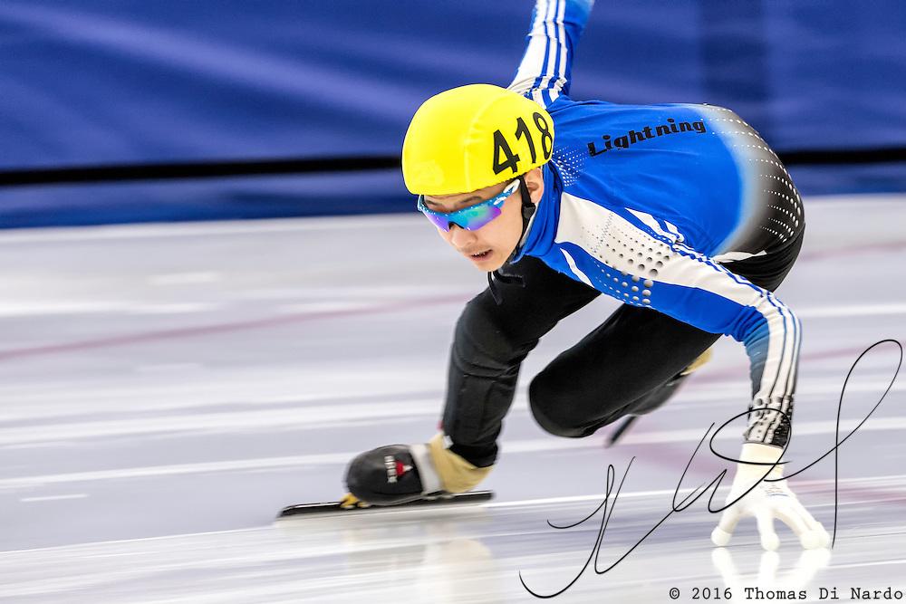 December 17, 2016 - Kearns, UT - Alex Pak skates during US Speedskating Short Track Junior Nationals and Winter Challenge Short Track Speed Skating competition at the Utah Olympic Oval.