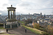 The Dugald Stewart Monument on Calton Hill on the 9th November 2018 in Edinburgh, Scotland in the United Kingdom. The Dugald Stewart Monument is a memorial to the Scottish philosopher Dugald Stewart and was completed in 1831.