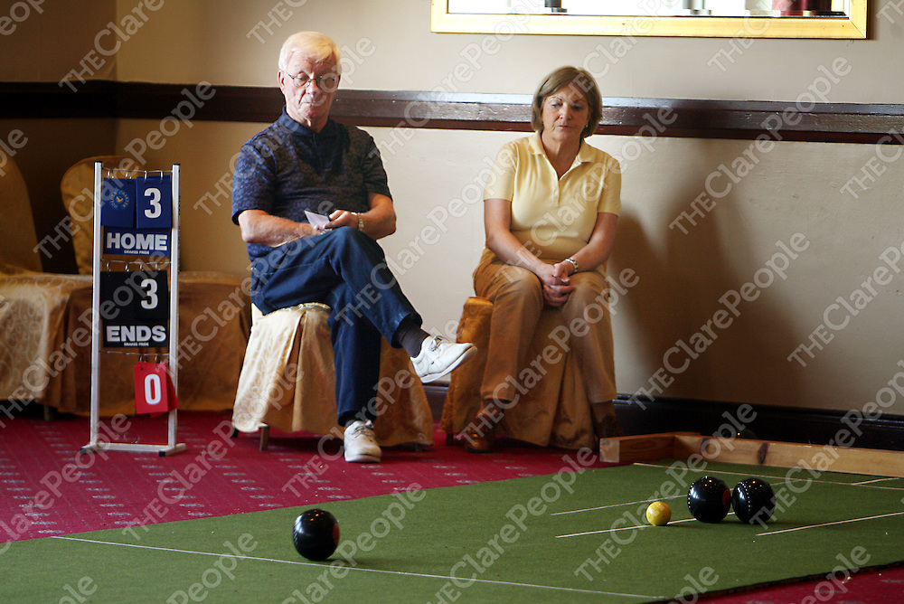 Eilish O'Neill-Fitzsimons and Bertie O' Toole watching the action at a bowls tournament in the Clare Inn Hotel during the week.<br /><br />Photograph by Yvonne Vaughan.