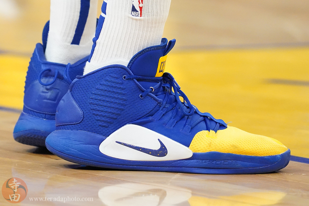 February 27, 2020; San Francisco, California, USA; Detail view of the Nike shoes worn by Golden State Warriors forward Draymond Green (23) during the first quarter against the Los Angeles Lakers at Chase Center.