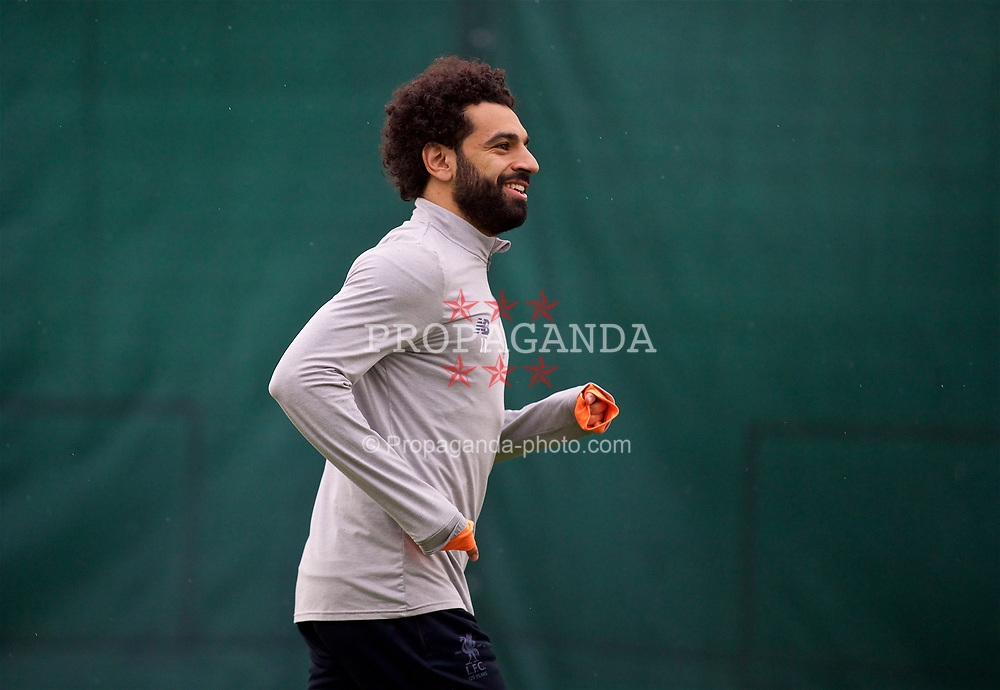 LIVERPOOL, ENGLAND - Monday, April 9, 2018: Liverpool's Mohamed Salah during a training session at Melwood Training Ground ahead of the UEFA Champions League Quarter-Final 2nd Leg match between Manchester City FC and Liverpool FC. (Pic by David Rawcliffe/Propaganda)