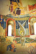 Apse of Santa Maria d'Aneu<br /> <br /> Late eleventh century - the beginning of the twelfth century<br /> Fresco transferred to canvas from the Church of Santa Maria d'Aneu, La Guingueta d'Aneu, Pollars Sobira, Spain.<br /> <br /> Acquisition of Museums Board of the 1919-23 campaign. MNAC 15874<br /> <br /> The iconography of the Romanesque frescoes of the Apse of Santa Maria d'Aneu shows the strong intellectualization of Romanesque art, which often waves the narrative in favor of symbolic concepts. Images of the Old Testament prophecy occupy the central part of the apse: the Seraphim of Isaiah's vision, burning embers that purify the words of Isaiah and of Elijah and four-wheel chariot of fire of Yahweh according to the vision of Ezekiel. .<br /> <br /> If you prefer you can also buy from our ALAMY PHOTO LIBRARY  Collection visit : https://www.alamy.com/portfolio/paul-williams-funkystock/romanesque-art-antiquities.html<br /> Type -     MNAC     - into the LOWER SEARCH WITHIN GALLERY box. Refine search by adding background colour, place, subject etc<br /> <br /> Visit our ROMANESQUE ART PHOTO COLLECTION for more   photos  to download or buy as prints https://funkystock.photoshelter.com/gallery-collection/Medieval-Romanesque-Art-Antiquities-Historic-Sites-Pictures-Images-of/C0000uYGQT94tY_Y