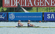 Belgrade, SERBIA.   USA W2-, Boat3 Bow: Caroline LIND and Taylor RITZEL Boat4 Boe Erin CAFARO and Eleanor LOGAN Qualify for Sundays Women's Pair final . 2012 FISA World Cup I   Saturday  05/05/2012   [Mandatory Credit. Peter Spurrier/Intersport Images]