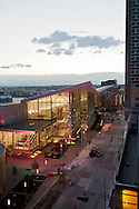 The Colorado Convention Center in Denver at dusk. WATERMARKS WILL NOT APPEAR ON PRINTS OR LICENSED IMAGES.