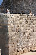 Example of stone masons work at Machu Picchu, Cusco Region, Urubamba Province, Machupicchu District in Peru, South America